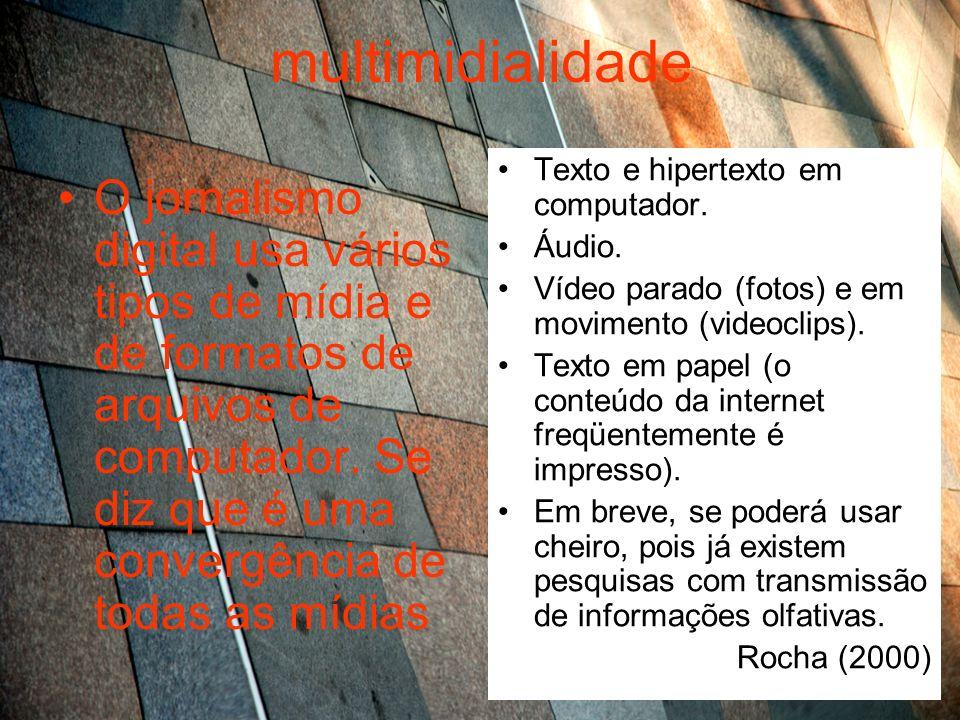 multimidialidade Texto e hipertexto em computador. Áudio. Vídeo parado (fotos) e em movimento (videoclips).