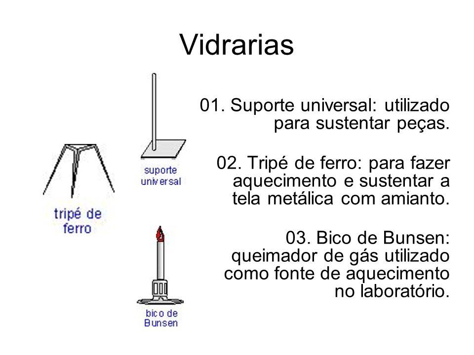 Vidrarias 01. Suporte universal: utilizado para sustentar peças.