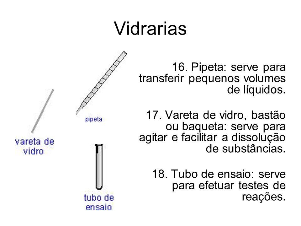 Vidrarias. 16. Pipeta: serve para transferir pequenos volumes de líquidos.