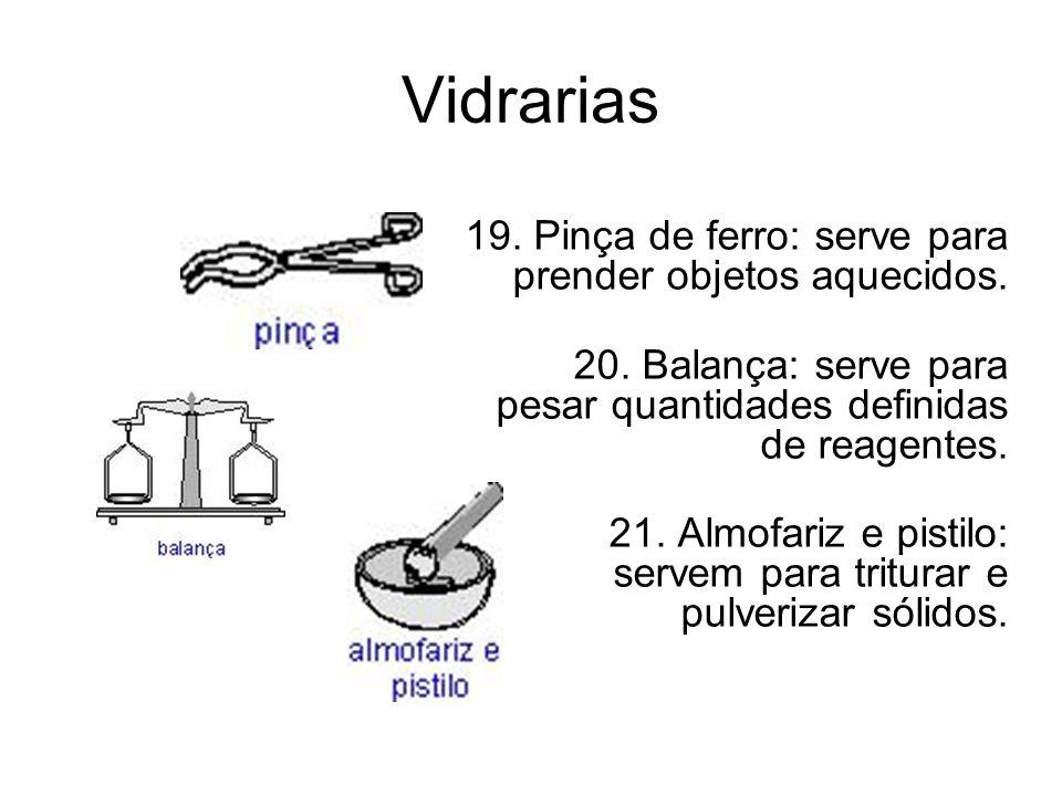 Vidrarias 19. Pinça de ferro: serve para prender objetos aquecidos.