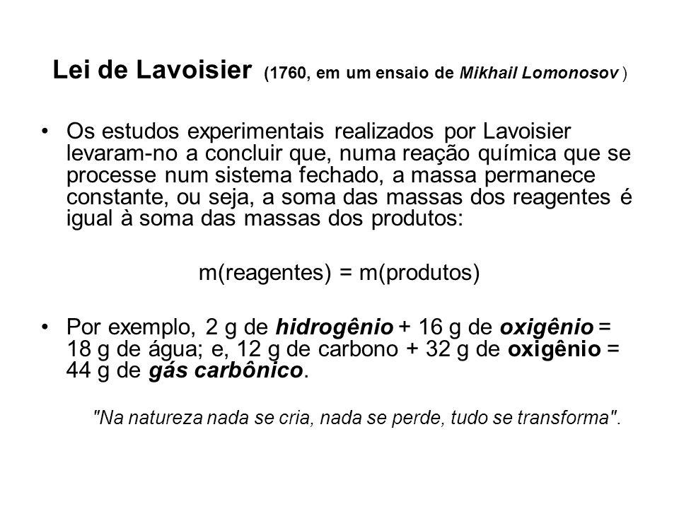 Lei de Lavoisier (1760, em um ensaio de Mikhail Lomonosov )