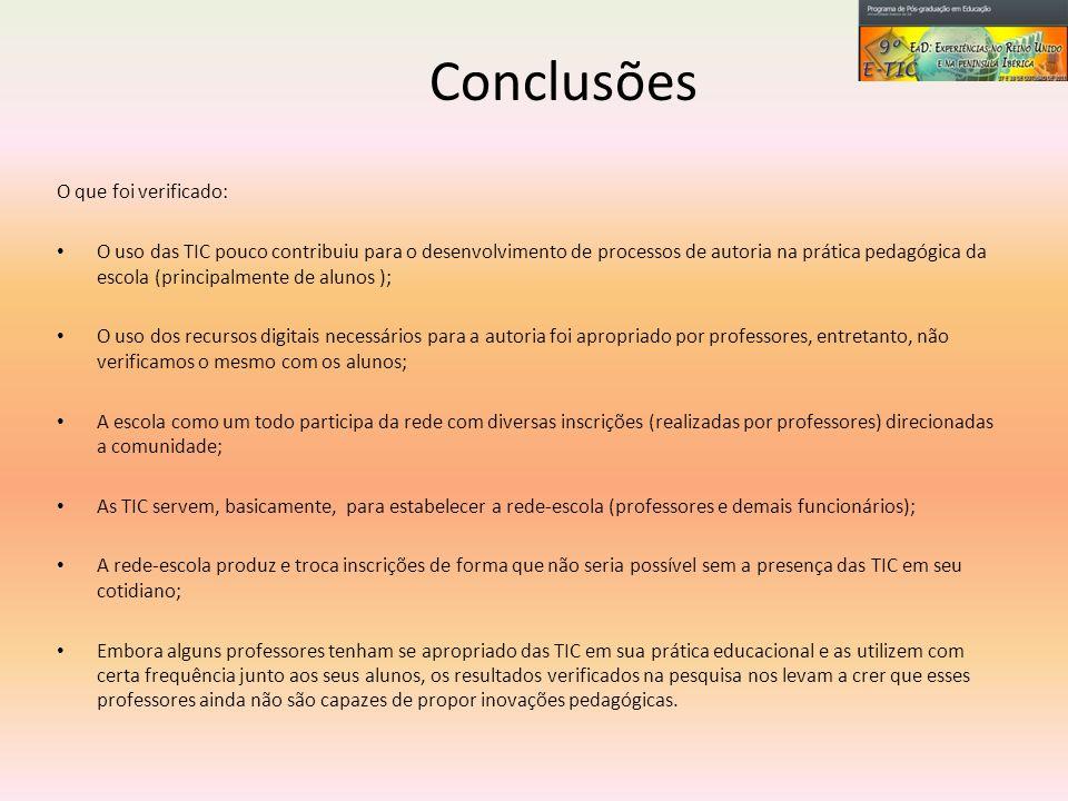 Conclusões O que foi verificado: