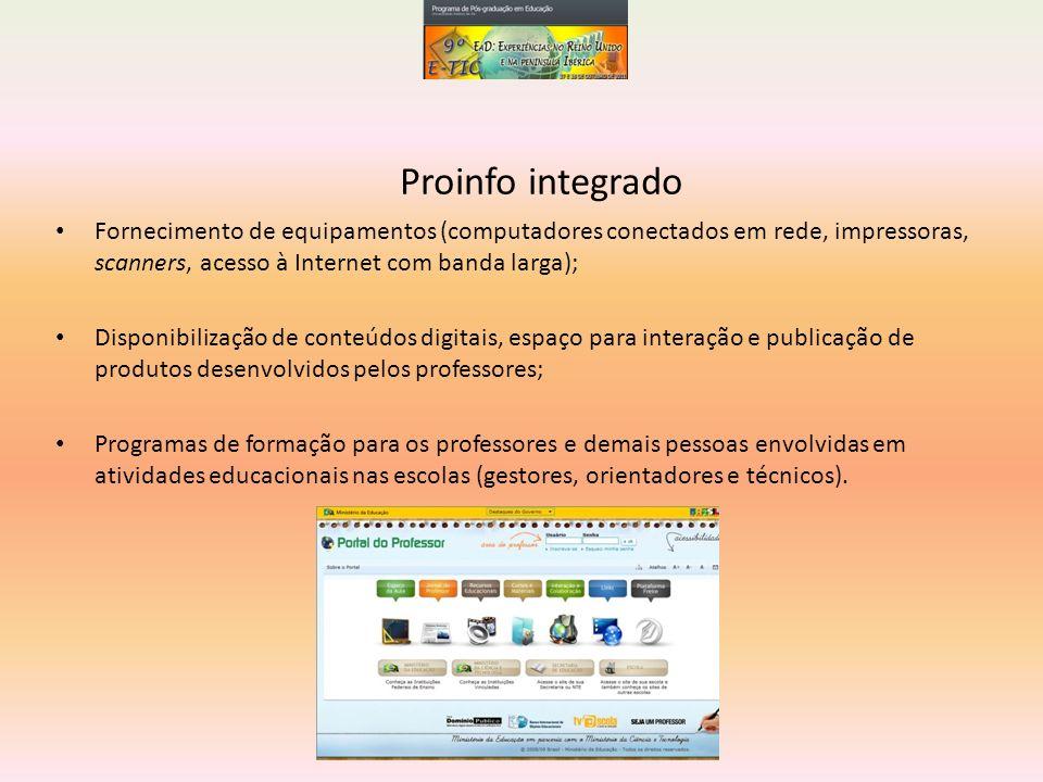 Proinfo integrado Fornecimento de equipamentos (computadores conectados em rede, impressoras, scanners, acesso à Internet com banda larga);