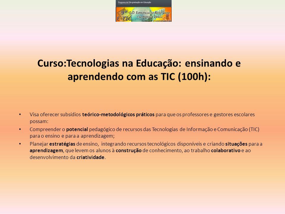 Curso:Tecnologias na Educação: ensinando e aprendendo com as TIC (100h):