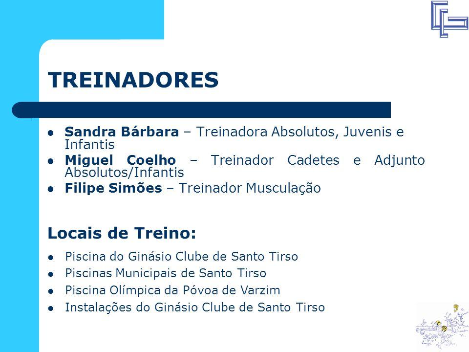 TREINADORES Locais de Treino: