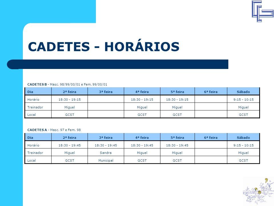 CADETES - HORÁRIOS CADETES B - Masc. 98/99/00/01 e Fem. 99/00/01 Dia