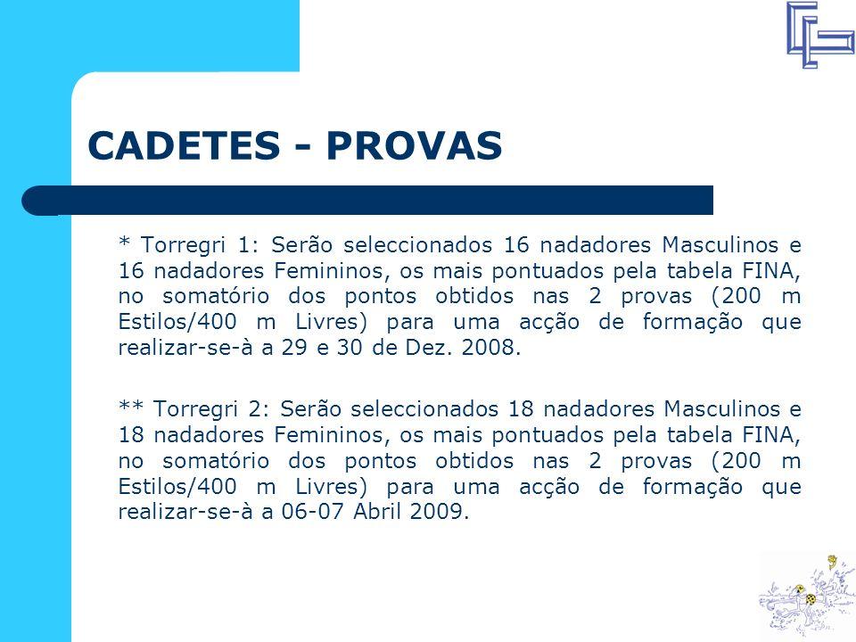 CADETES - PROVAS