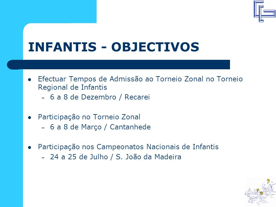 INFANTIS - OBJECTIVOS Efectuar Tempos de Admissão ao Torneio Zonal no Torneio Regional de Infantis.