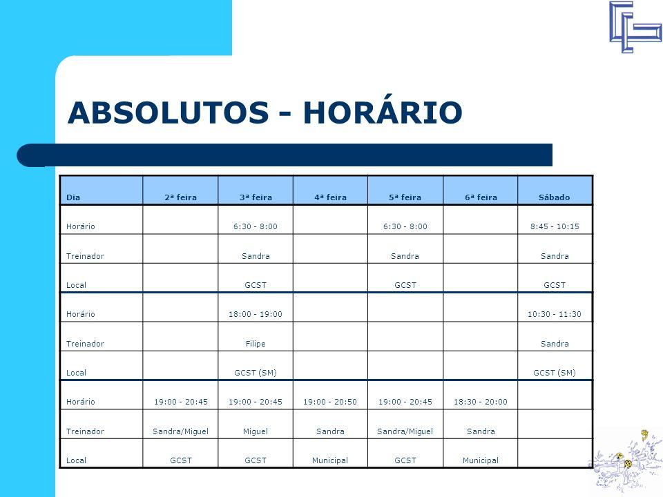 ABSOLUTOS - HORÁRIO Dia 2ª feira 3ª feira 4ª feira 5ª feira 6ª feira