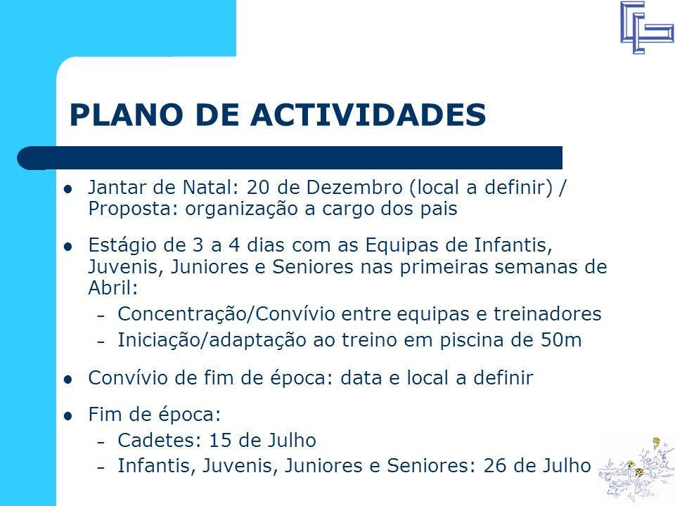 PLANO DE ACTIVIDADES Jantar de Natal: 20 de Dezembro (local a definir) / Proposta: organização a cargo dos pais.