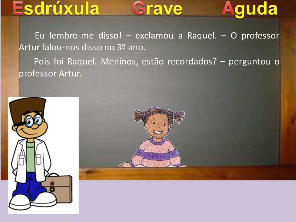 Esdrúxula Grave. Aguda. - Eu lembro-me disso! – exclamou a Raquel. – O professor Artur falou-nos disso no 3º ano.