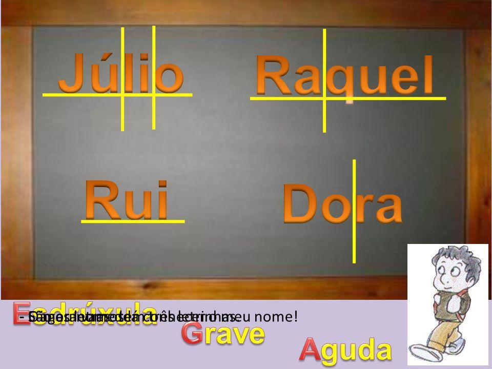Júlio Raquel Rui Dora Esdrúxula Grave Aguda