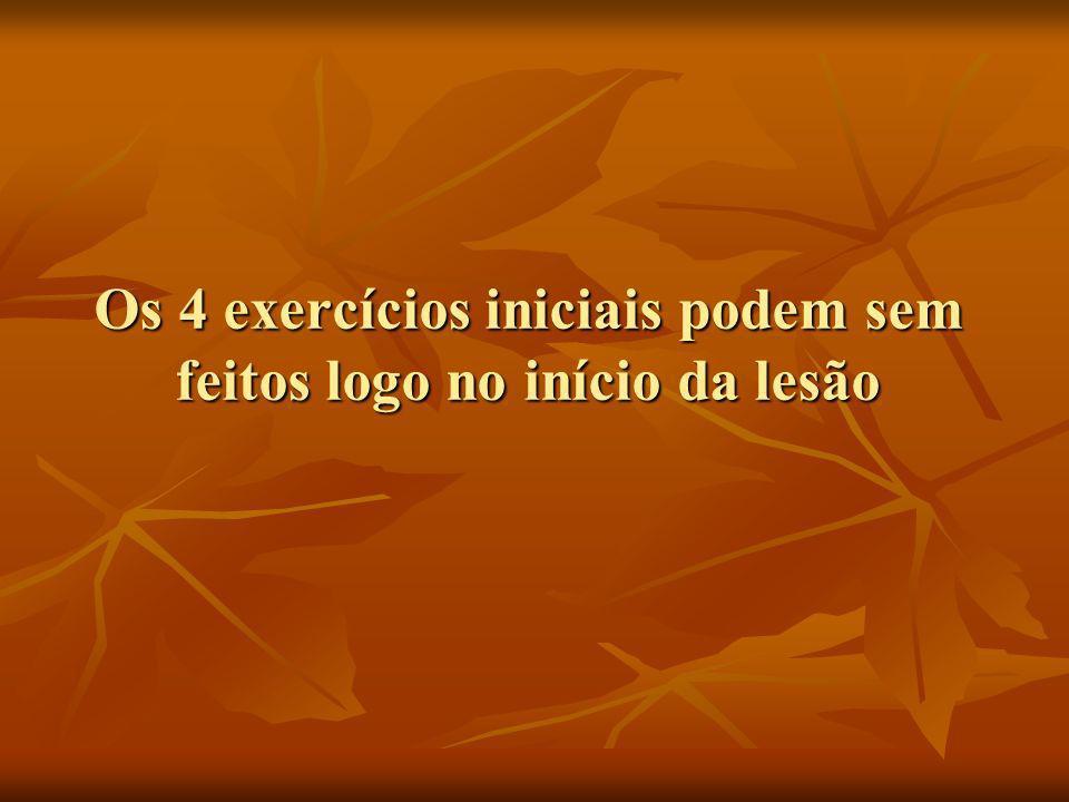 Os 4 exercícios iniciais podem sem feitos logo no início da lesão
