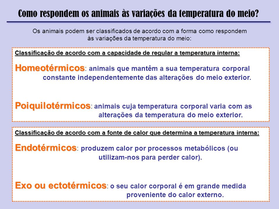 Como respondem os animais às variações da temperatura do meio