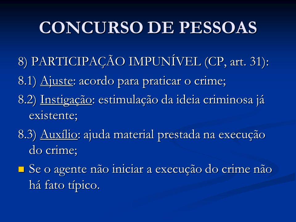 CONCURSO DE PESSOAS 8) PARTICIPAÇÃO IMPUNÍVEL (CP, art. 31):