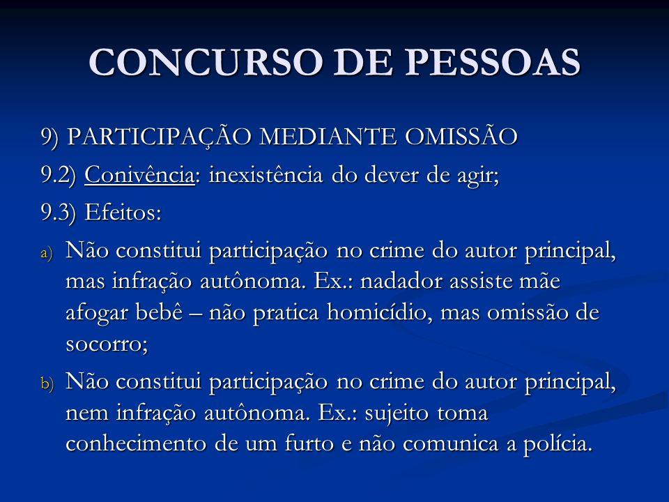 CONCURSO DE PESSOAS 9) PARTICIPAÇÃO MEDIANTE OMISSÃO