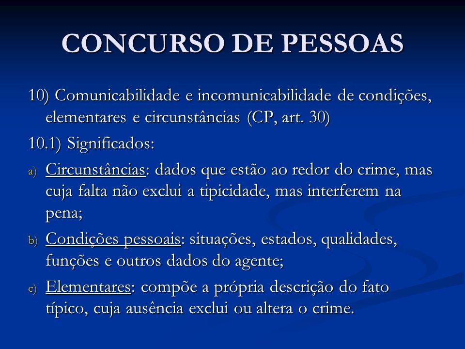 CONCURSO DE PESSOAS 10) Comunicabilidade e incomunicabilidade de condições, elementares e circunstâncias (CP, art. 30)
