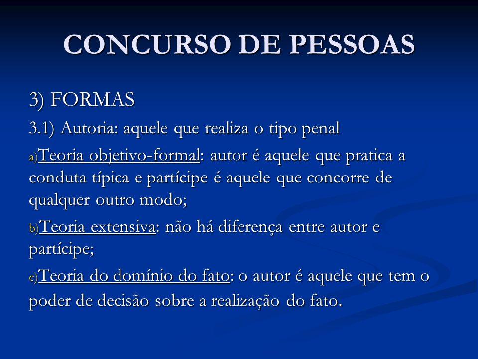 CONCURSO DE PESSOAS 3) FORMAS