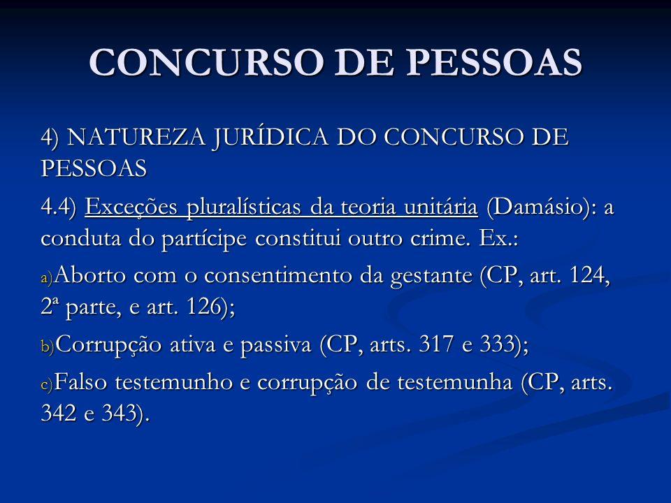 CONCURSO DE PESSOAS 4) NATUREZA JURÍDICA DO CONCURSO DE PESSOAS