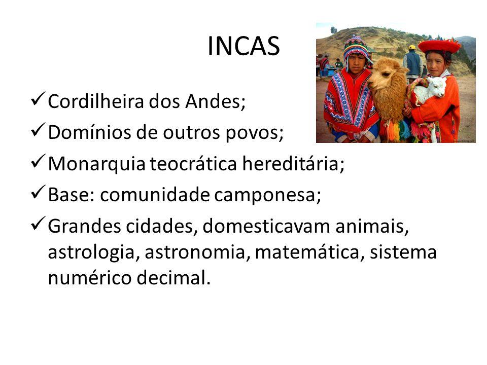 INCAS Cordilheira dos Andes; Domínios de outros povos;