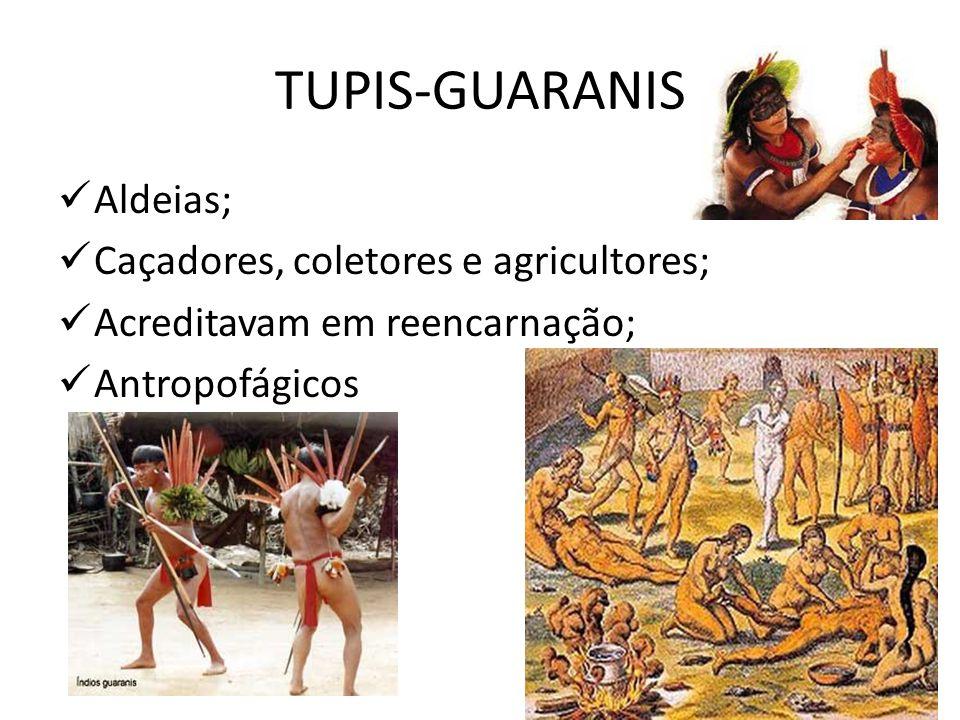 TUPIS-GUARANIS Aldeias; Caçadores, coletores e agricultores;