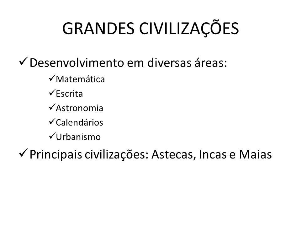 GRANDES CIVILIZAÇÕES Desenvolvimento em diversas áreas:
