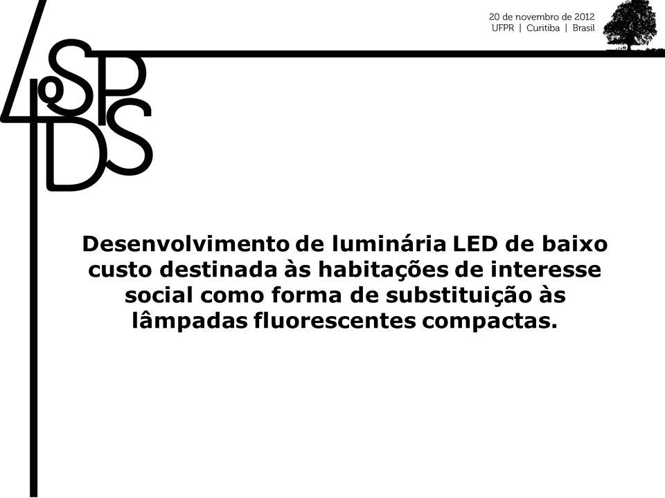 Desenvolvimento de luminária LED de baixo custo destinada às habitações de interesse social como forma de substituição às lâmpadas fluorescentes compactas.