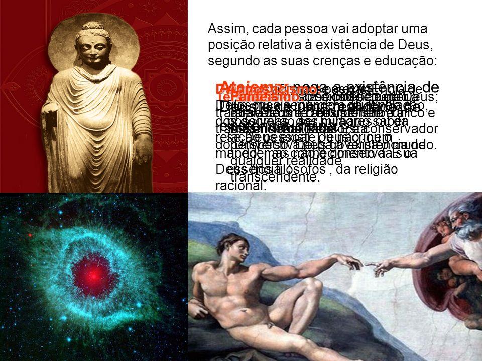 Assim, cada pessoa vai adoptar uma posição relativa à existência de Deus, segundo as suas crenças e educação: