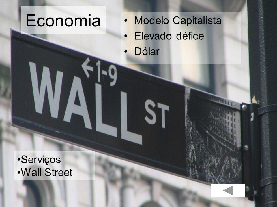 Economia Modelo Capitalista Elevado défice Dólar Serviços Wall Street