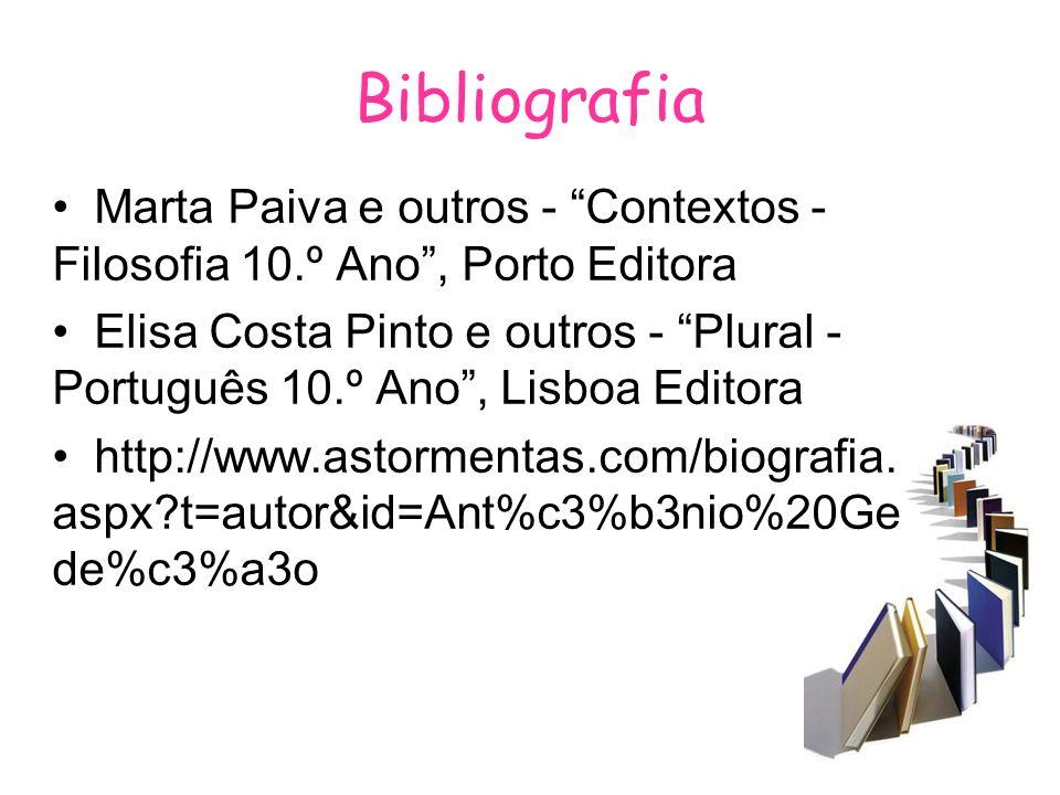 Bibliografia Marta Paiva e outros - Contextos - Filosofia 10.º Ano , Porto Editora.