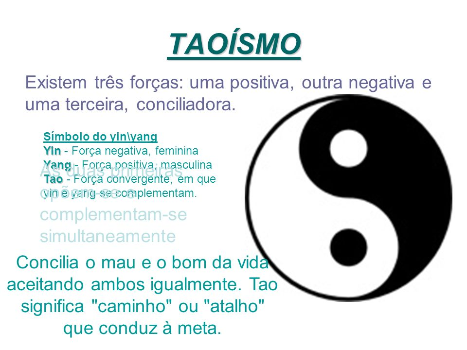 TAOÍSMO Existem três forças: uma positiva, outra negativa e uma terceira, conciliadora. Símbolo do yin\yang.