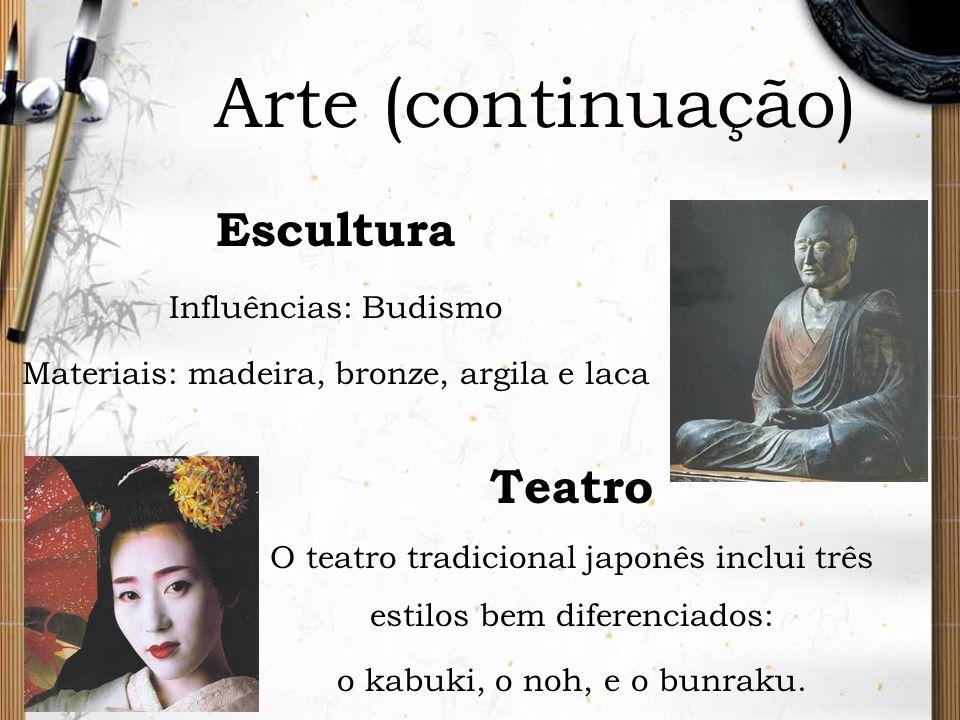 Arte (continuação) Escultura Influências: Budismo