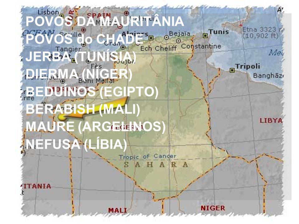 POVOS DA MAURITÂNIA POVOS do CHADE. JERBA (TUNÍSIA) DIERMA (NÍGER) BEDUÍNOS (EGIPTO) BERABISH (MALI)