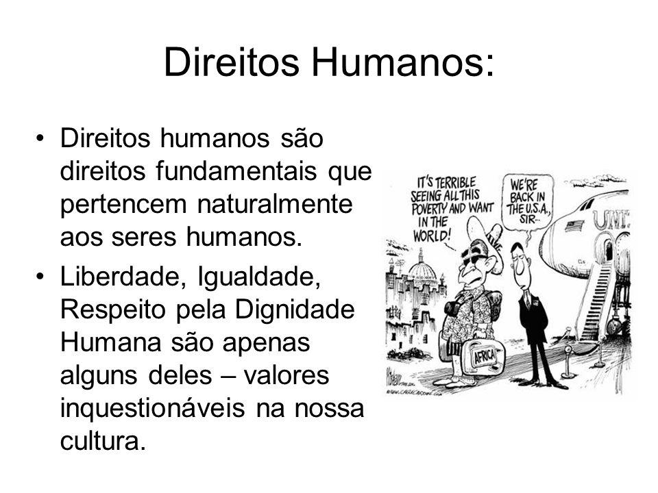 Direitos Humanos: Direitos humanos são direitos fundamentais que pertencem naturalmente aos seres humanos.