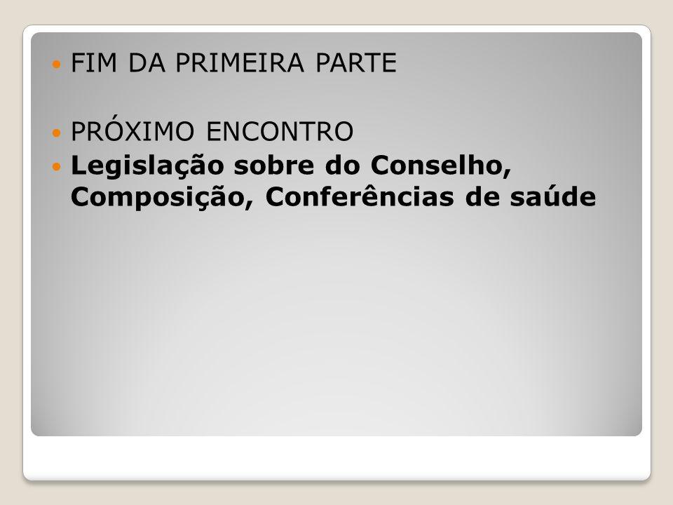 FIM DA PRIMEIRA PARTE PRÓXIMO ENCONTRO.