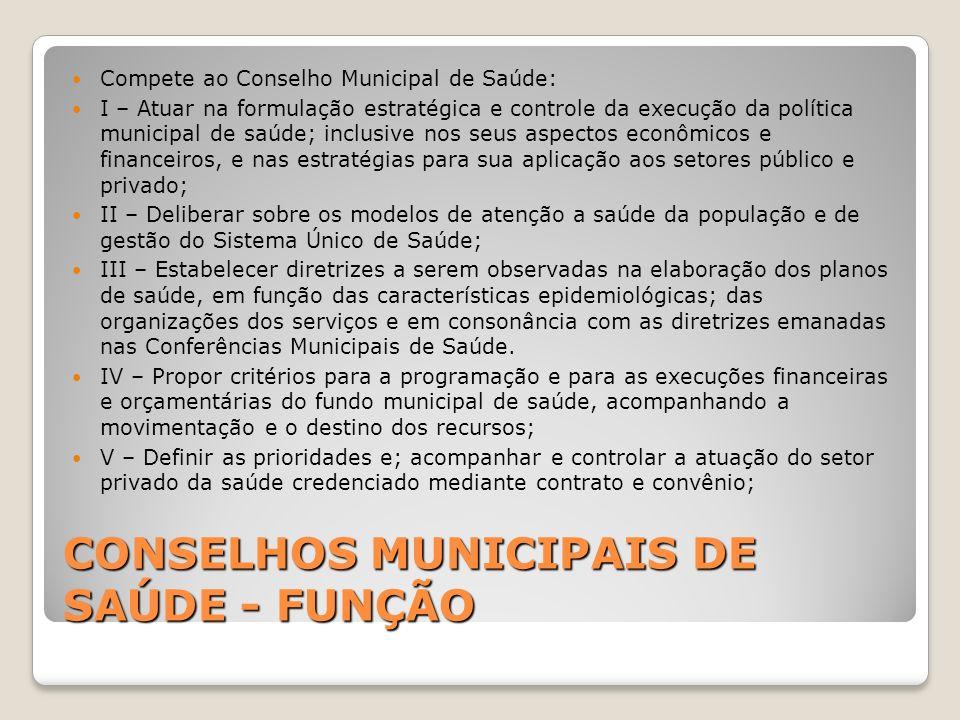 CONSELHOS MUNICIPAIS DE SAÚDE - FUNÇÃO