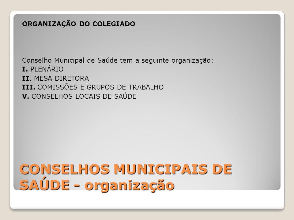 CONSELHOS MUNICIPAIS DE SAÚDE - organização