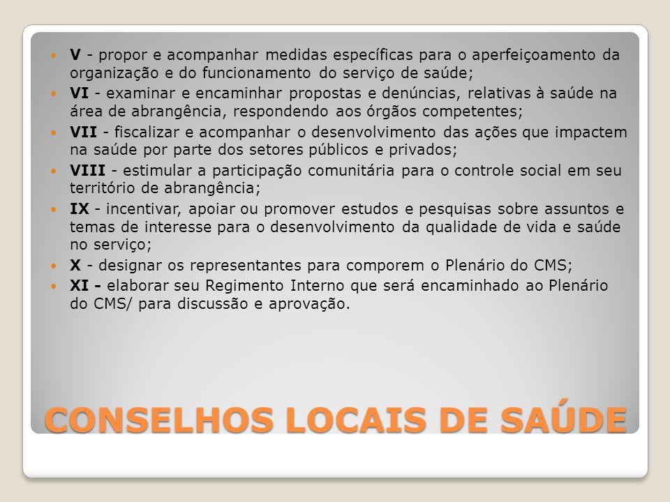 CONSELHOS LOCAIS DE SAÚDE