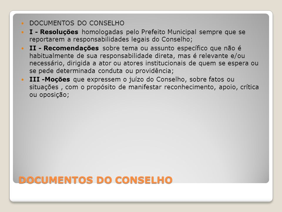 DOCUMENTOS DO CONSELHO