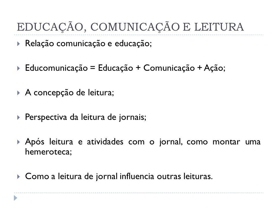 EDUCAÇÃO, COMUNICAÇÃO E LEITURA