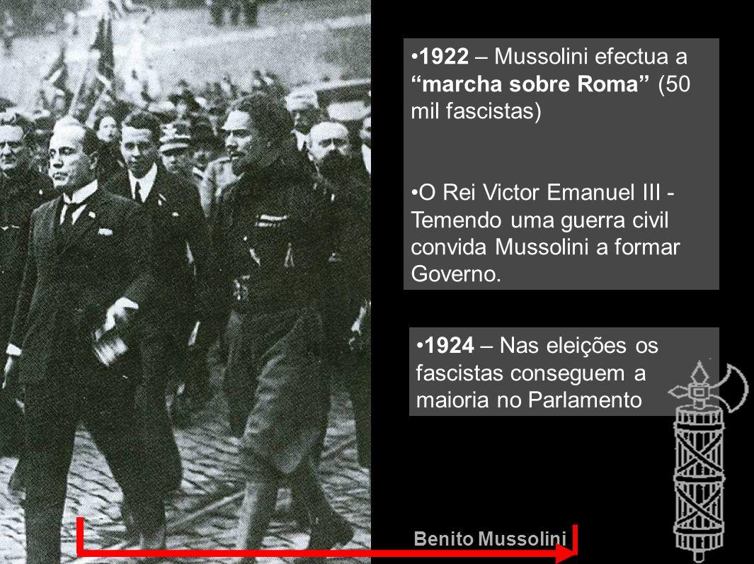 1922 – Mussolini efectua a marcha sobre Roma (50 mil fascistas)