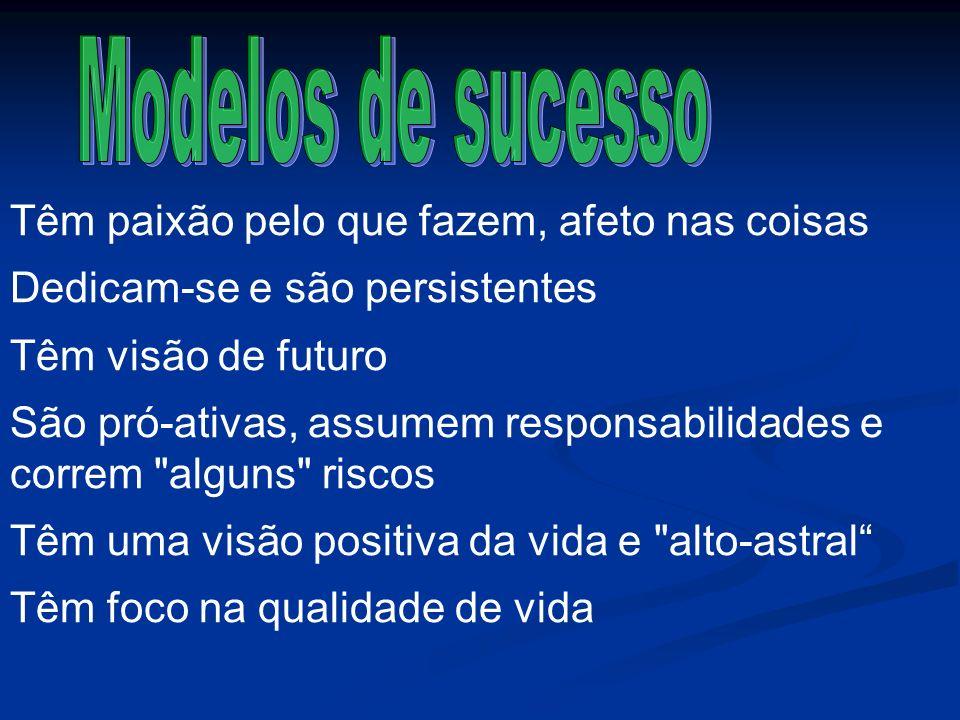 Modelos de sucesso Têm paixão pelo que fazem, afeto nas coisas