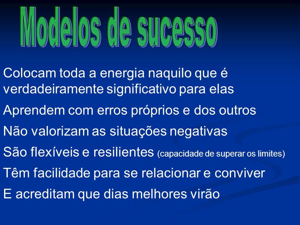 Modelos de sucessoColocam toda a energia naquilo que é verdadeiramente significativo para elas. Aprendem com erros próprios e dos outros.