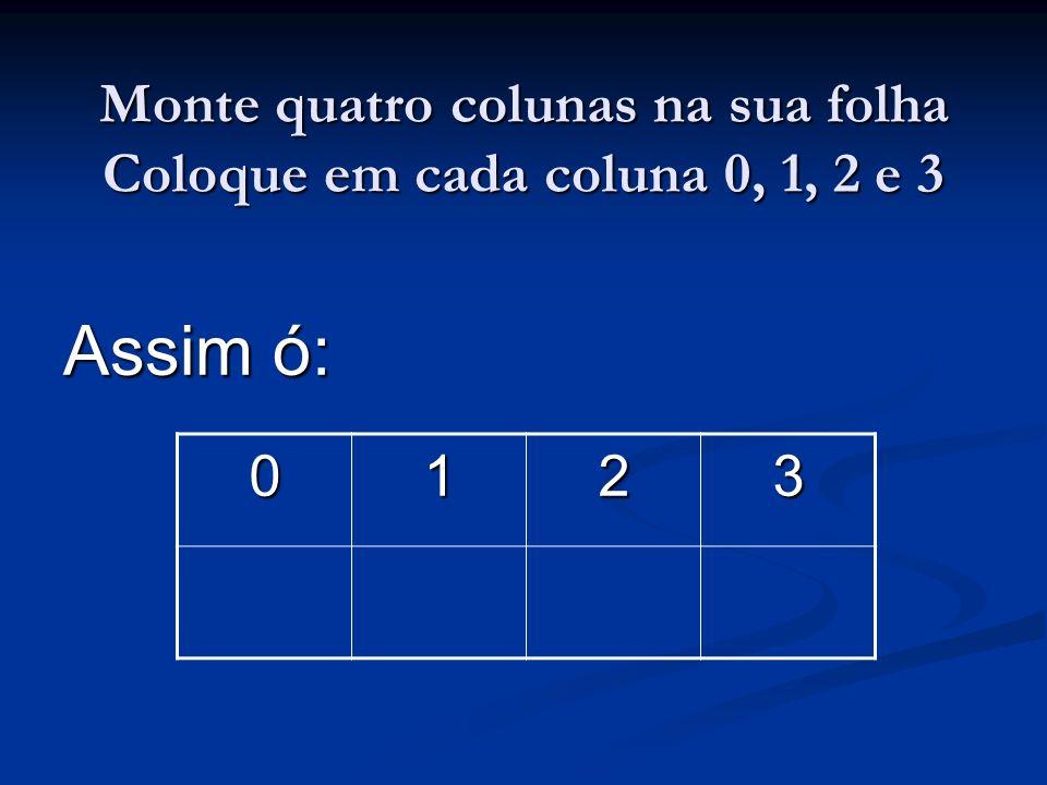 Monte quatro colunas na sua folha Coloque em cada coluna 0, 1, 2 e 3