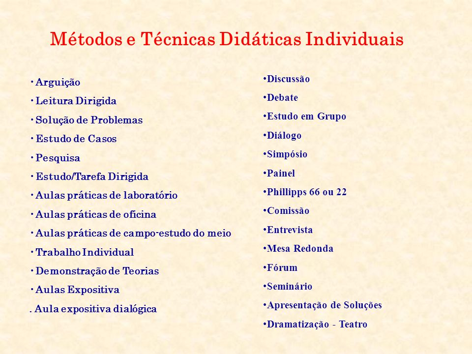 Métodos e Técnicas Didáticas Individuais