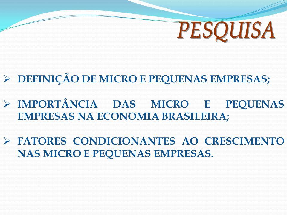 DEFINIÇÃO DE MICRO E PEQUENAS EMPRESAS;