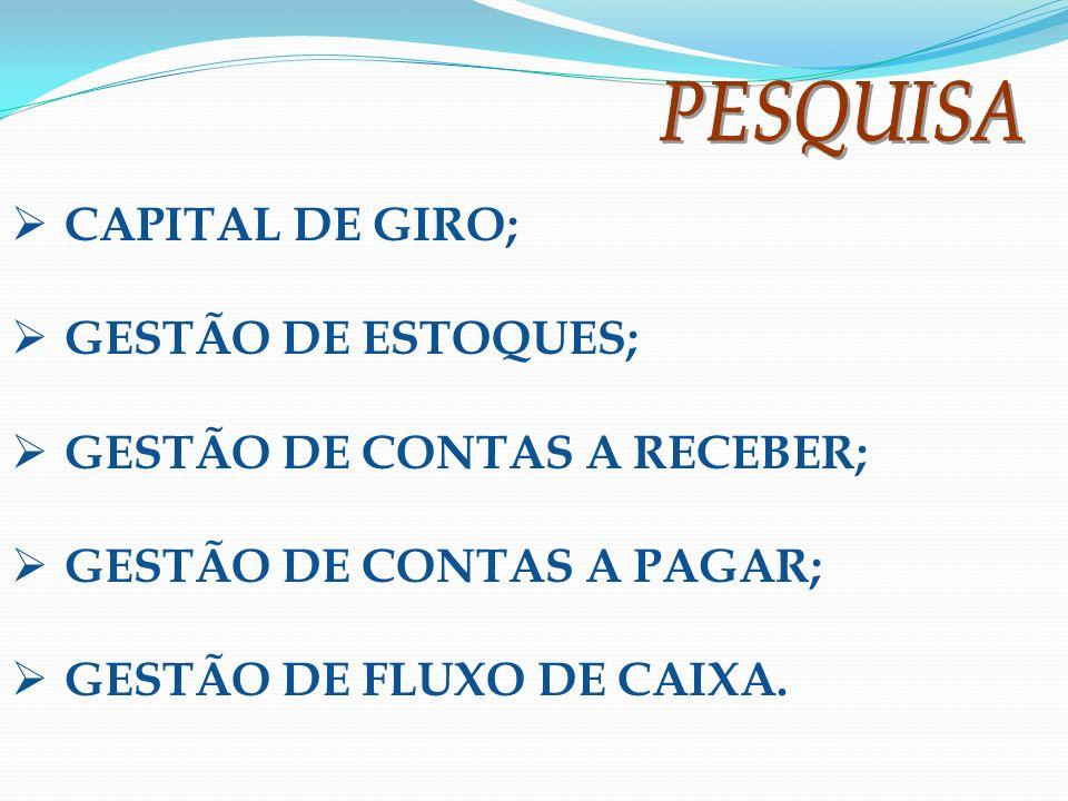 GESTÃO DE CONTAS A RECEBER; GESTÃO DE CONTAS A PAGAR;