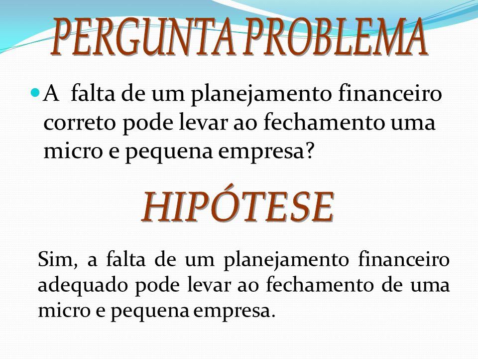 PERGUNTA PROBLEMA A falta de um planejamento financeiro correto pode levar ao fechamento uma micro e pequena empresa