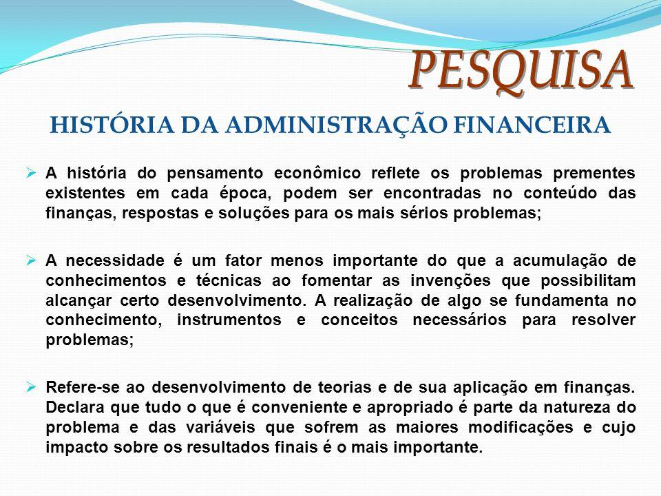 HISTÓRIA DA ADMINISTRAÇÃO FINANCEIRA