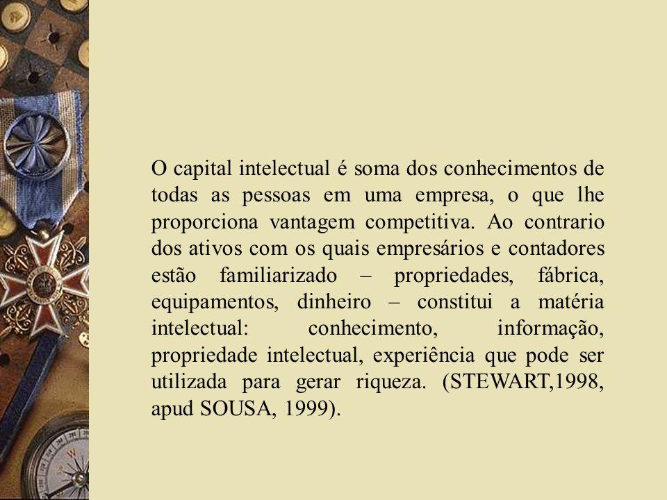 O capital intelectual é soma dos conhecimentos de todas as pessoas em uma empresa, o que lhe proporciona vantagem competitiva.
